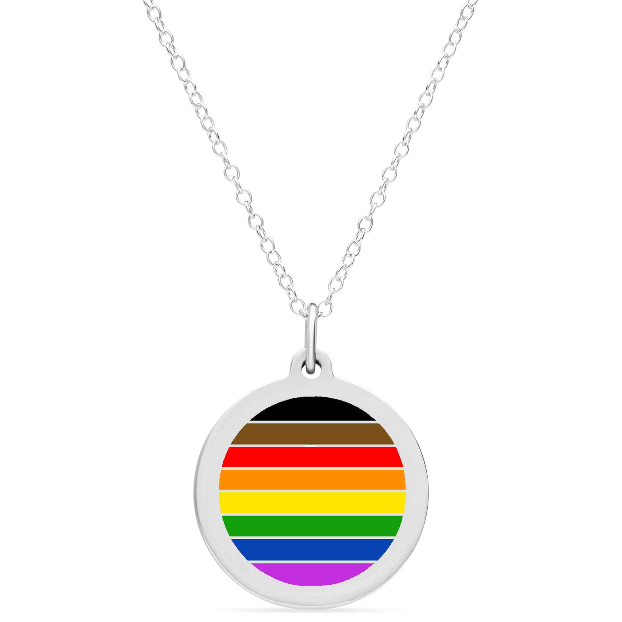 RAINBOW FLAG CHARM in sterling silver with rhodium plate
