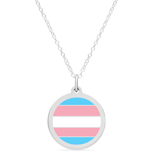 TRANS FLAG CHARM in sterling silver with rhodium plate