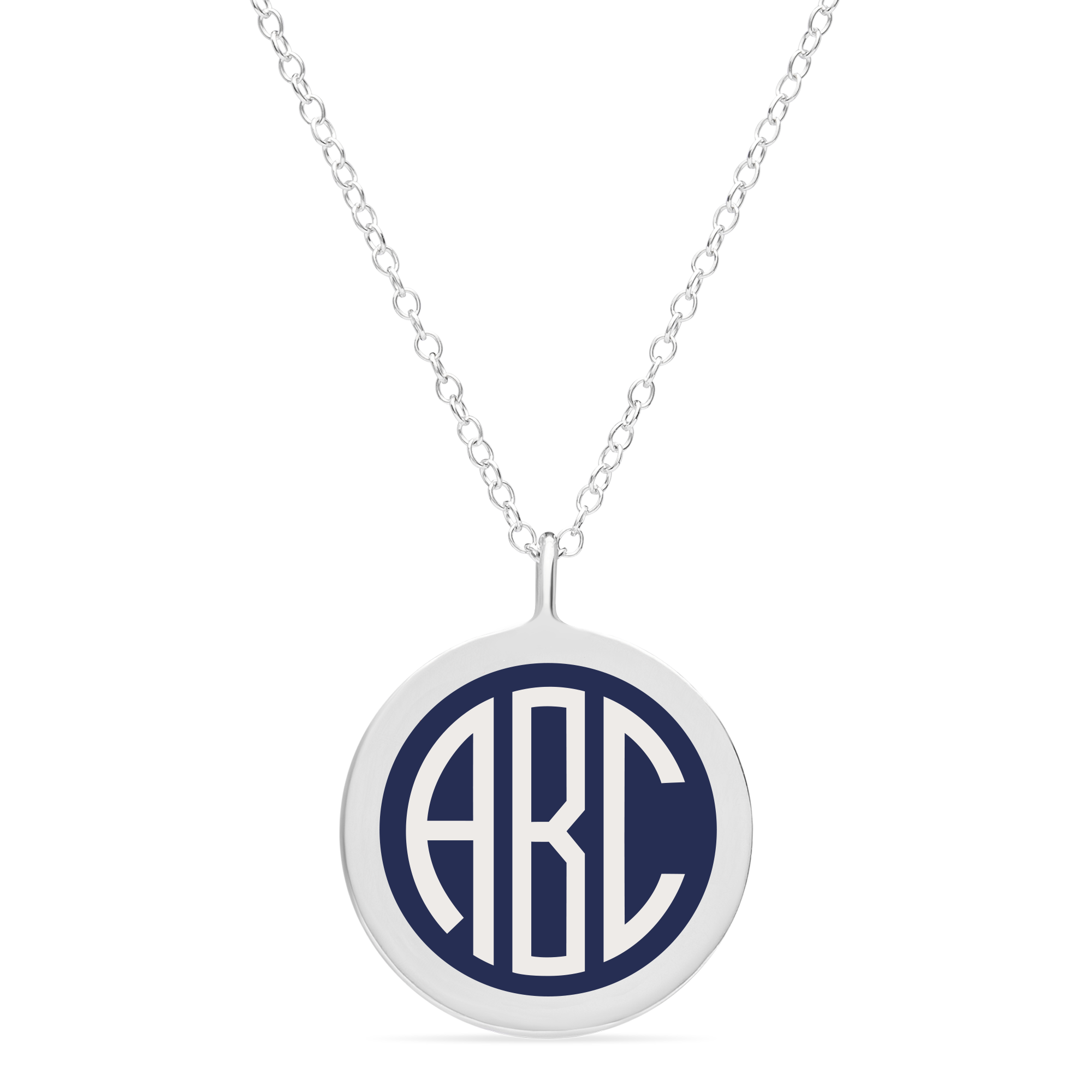 BESPOKE LARGE MONOGRAM NECKLACE in sterling silver