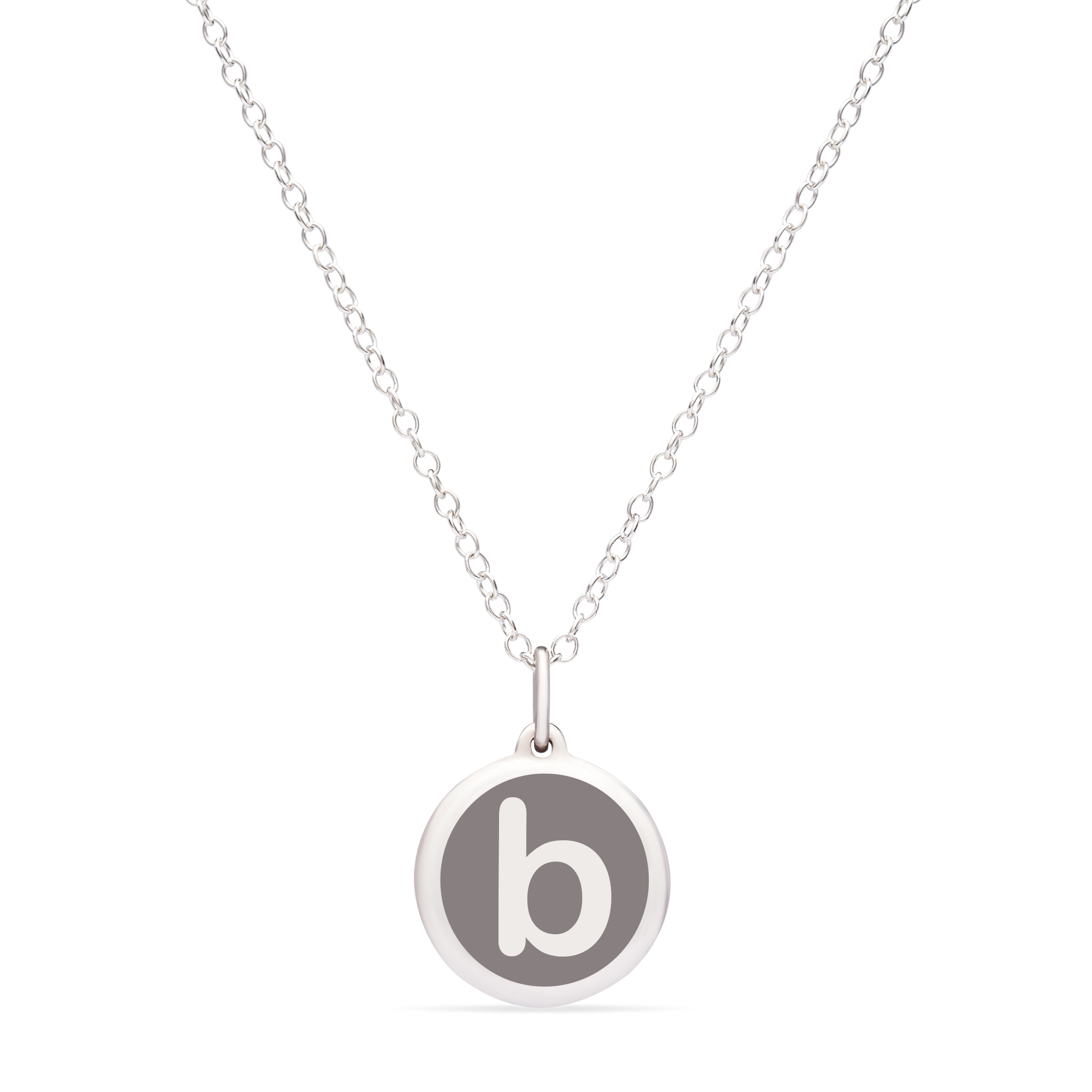 MINI INITIAL 'b' CHARM sterling silver with rhodium plate