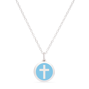 MINI CROSS CHARM sterling silver with rhodium plate