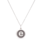 MINI INITIAL 'e' CHARM sterling silver with rhodium plate