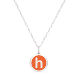 MINI INITIAL 'h' CHARM sterling silver with rhodium plate
