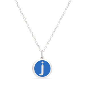 MINI INITIAL 'j' CHARM sterling silver with rhodium plate
