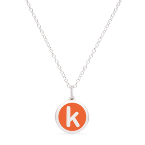 MINI INITIAL 'k' CHARM sterling silver with rhodium plate