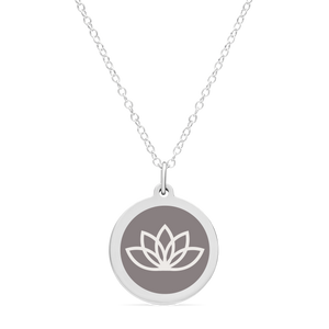 ORIGINAL LOTUS FLOWER CHARM in sterling silver with rhodium plate