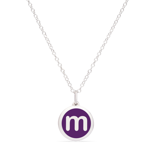 MINI INITIAL 'm' CHARM sterling silver with rhodium plate