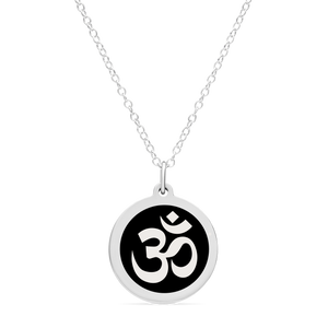 ORIGINAL OM CHARM in sterling silver with rhodium plate