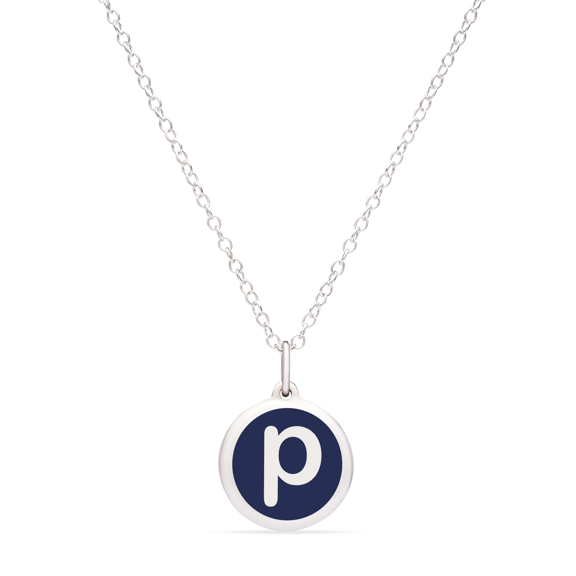 MINI INITIAL 'p' CHARM sterling silver with rhodium plate