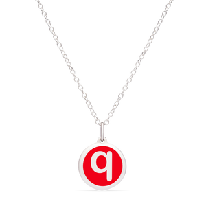 MINI INITIAL 'q' CHARM sterling silver with rhodium plate