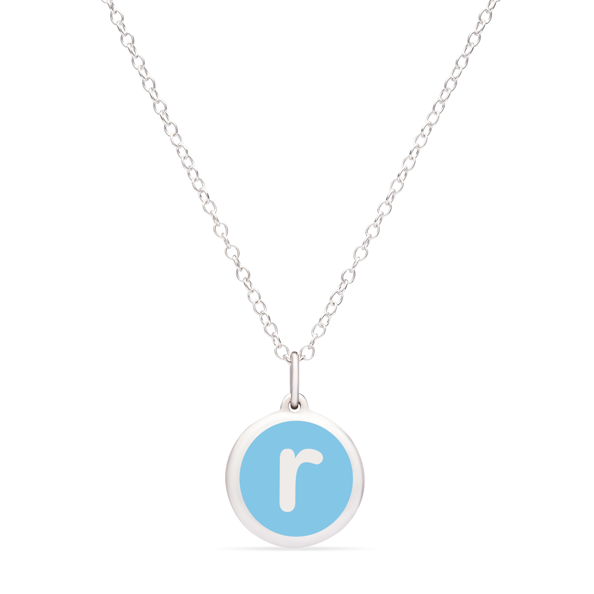 MINI INITIAL 'r' CHARM sterling silver with rhodium plate