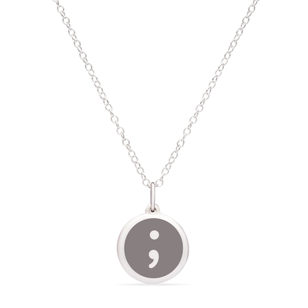 MINI SEMICOLON CHARM sterling silver with rhodium plate