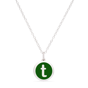 MINI INITIAL 't' CHARM sterling silver with rhodium plate