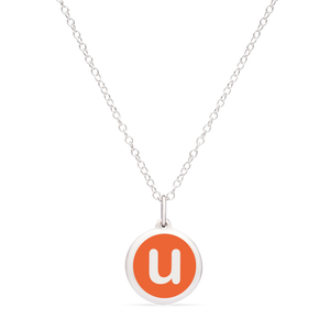 MINI INITIAL 'u' CHARM sterling silver with rhodium plate