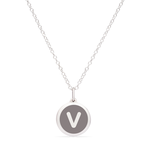 MINI INITIAL 'v' CHARM sterling silver with rhodium plate