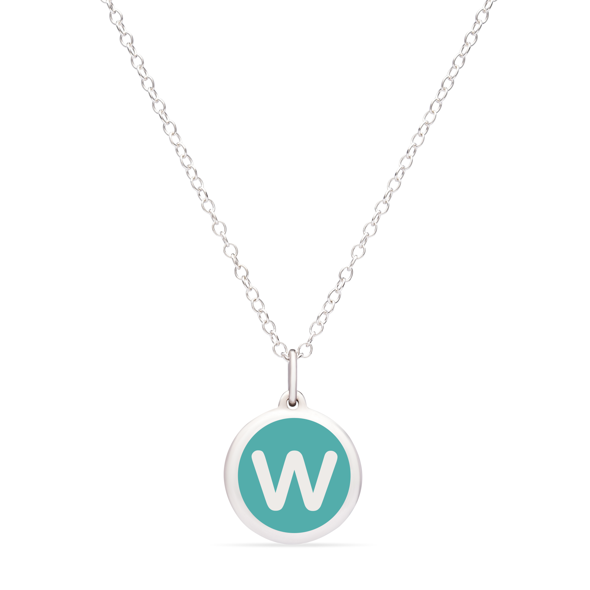 MINI INITIAL 'w' CHARM sterling silver with rhodium plate