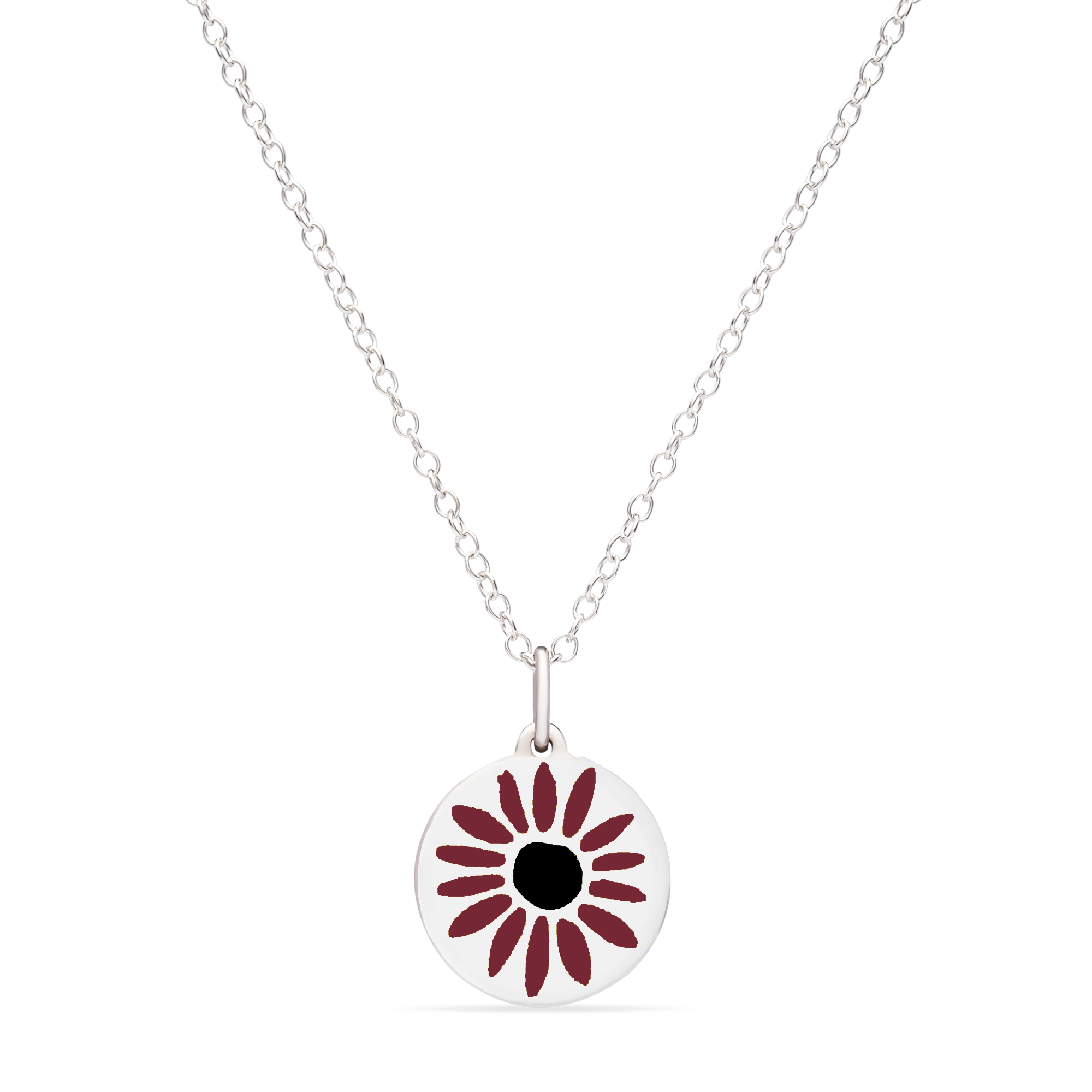 MINI DEEP RED DAISY CHARM sterling silver with rhodium plate