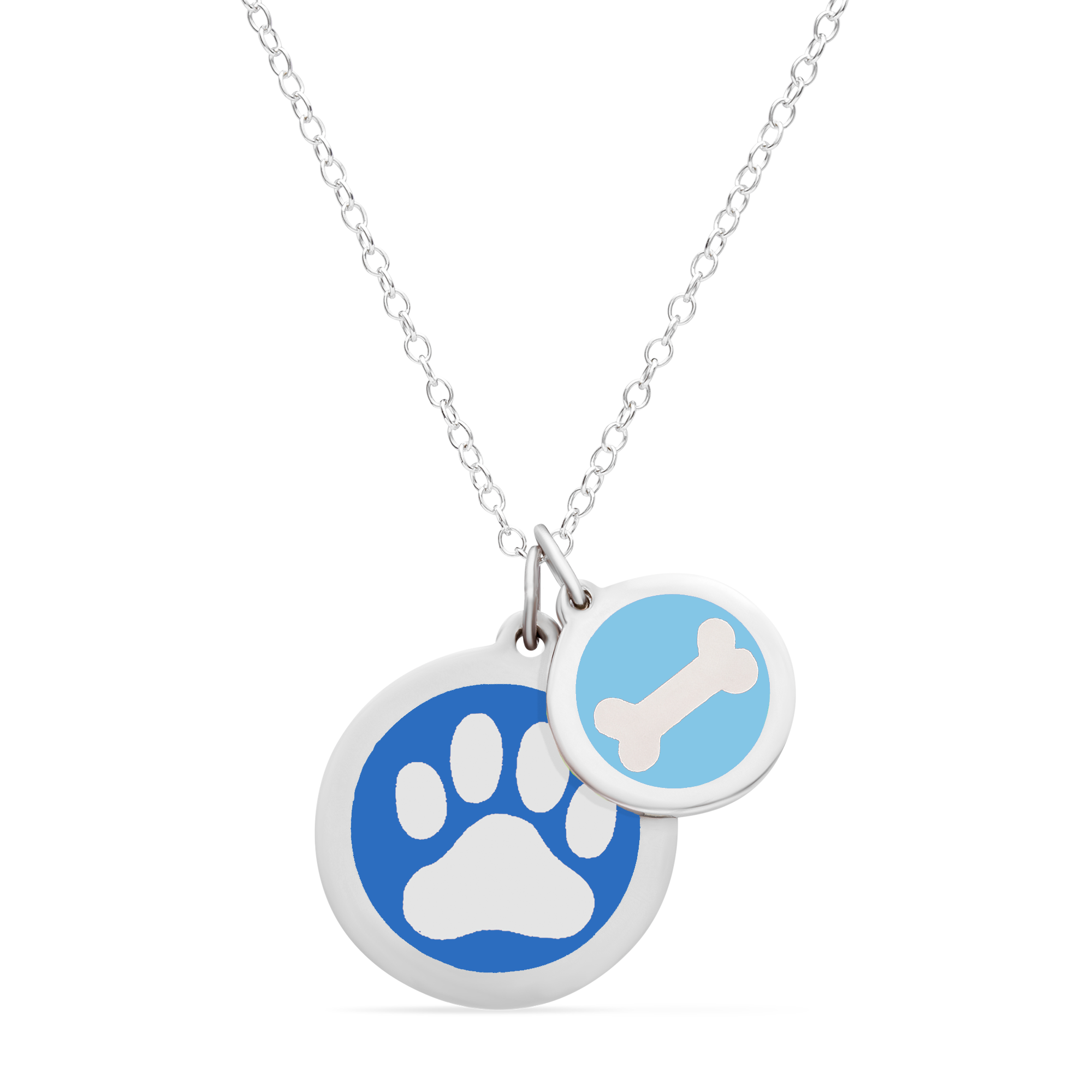 PAW PRINT & DOG BONE NECKLACE in sterling silver with rhodium plate