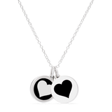 HEART & REVERSE HEART sterling silver with rhodium plate