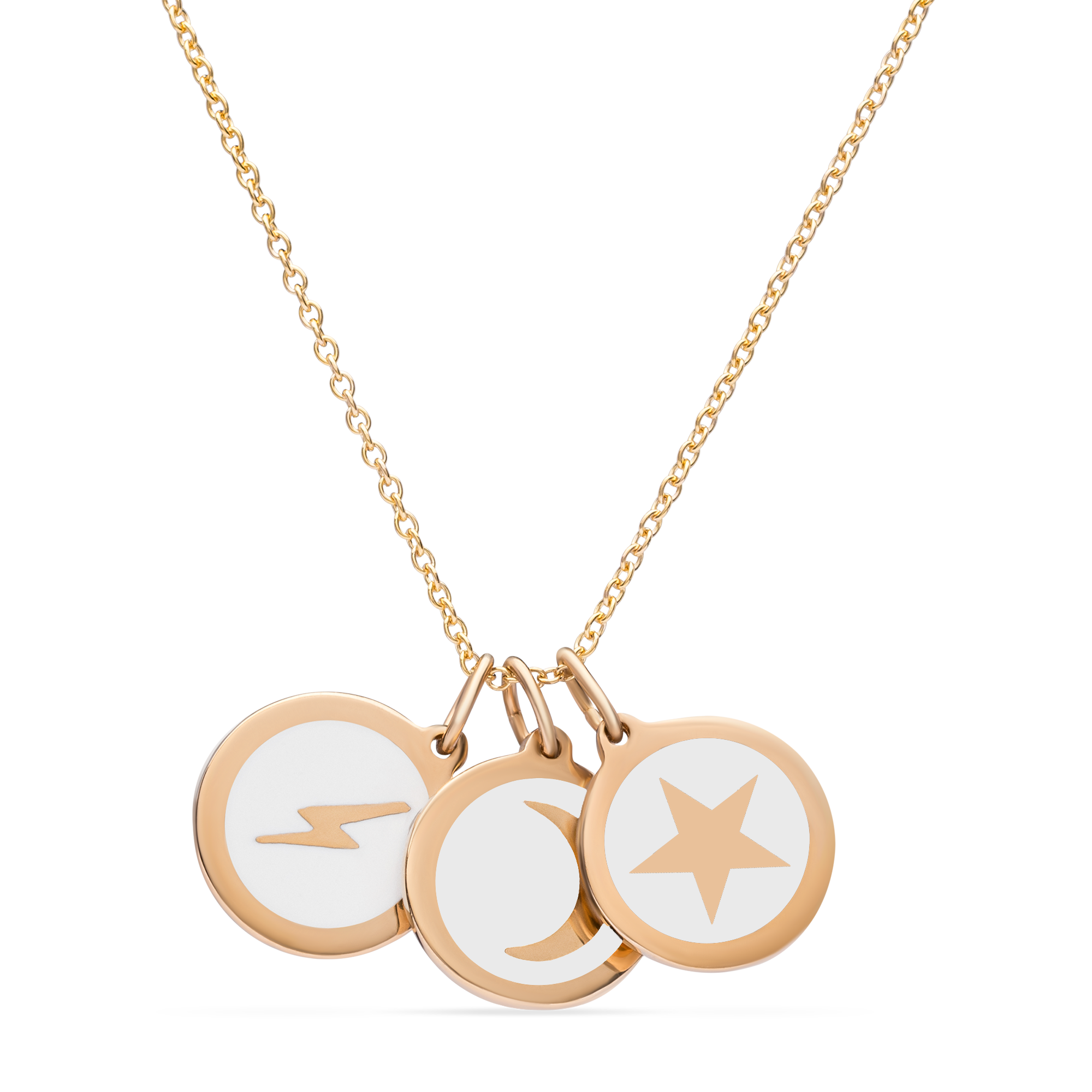 STAR, MOON, LIGHTNING NECKLACE 14k gold vermeil