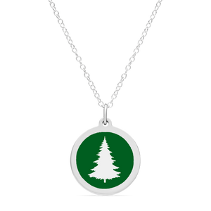 ORIGINAL PINE TREE CHARM in sterling silver with rhodium plate