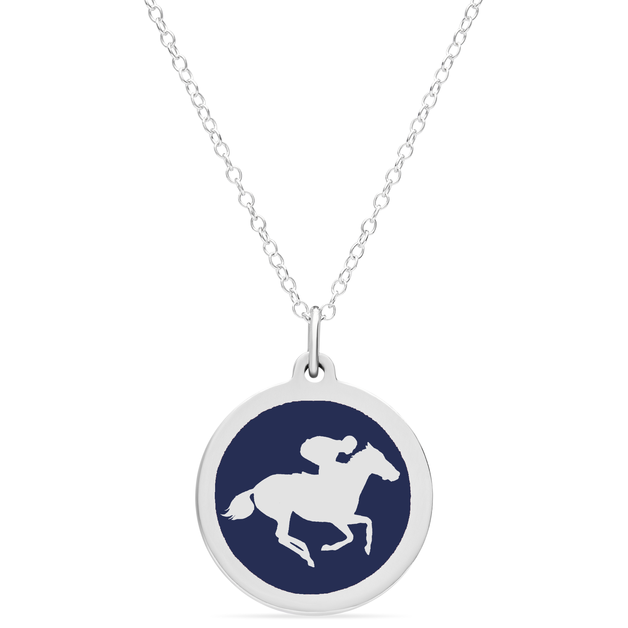 LARGE RACEHORSE CHARM sterling silver with rhodium plate