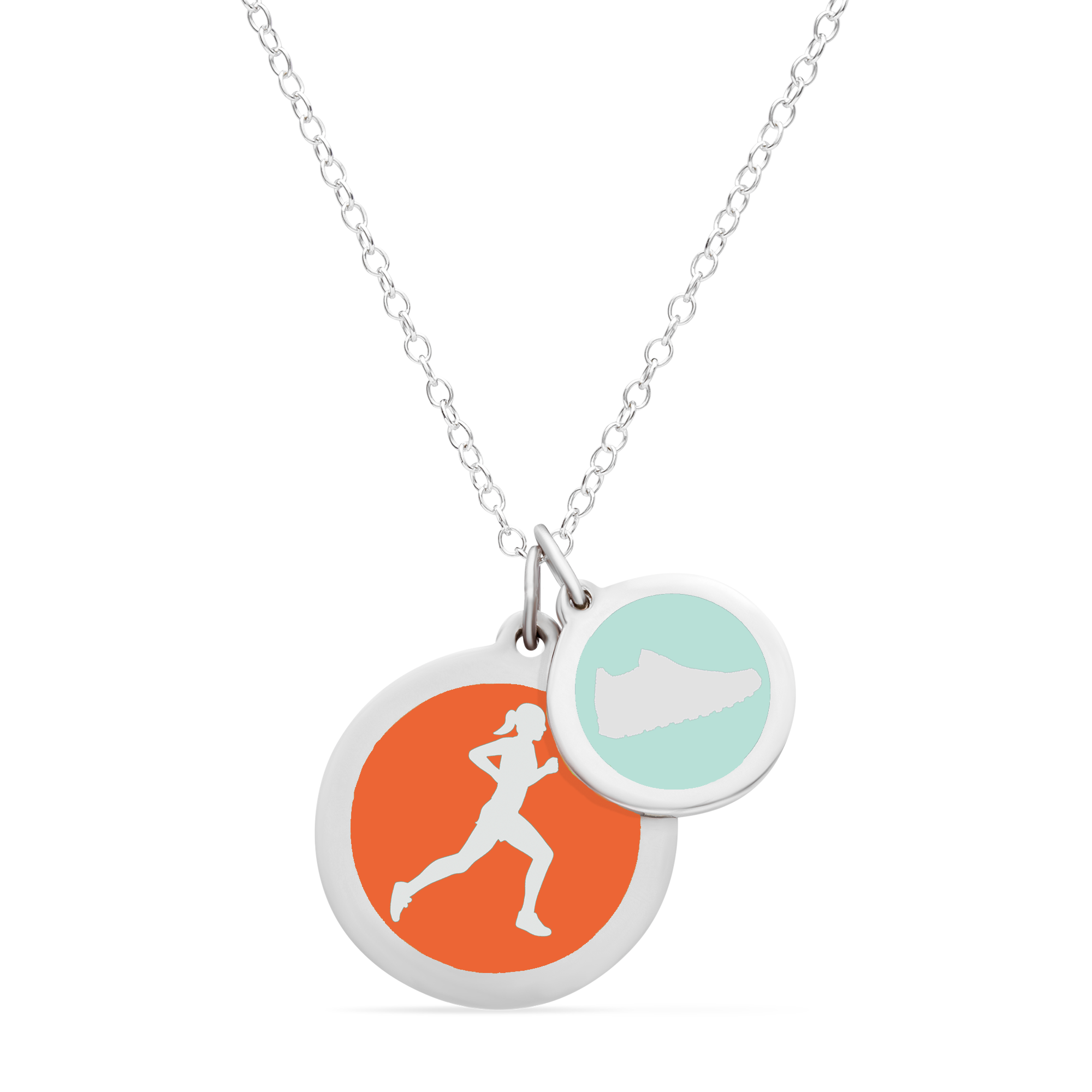 RUNNER & SNEAKER NECKLACE in sterling silver with rhodium plate