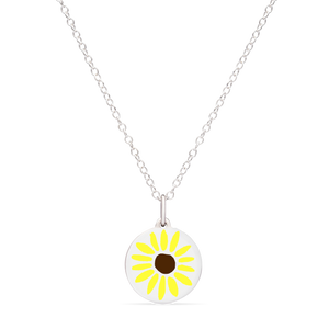 MINI SUNFLOWER CHARM sterling silver with rhodium plate