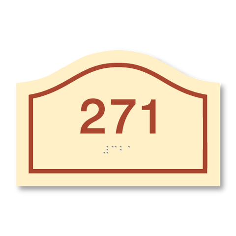 Primary - Curve Room Number  (Antique Ivory & Canyon)