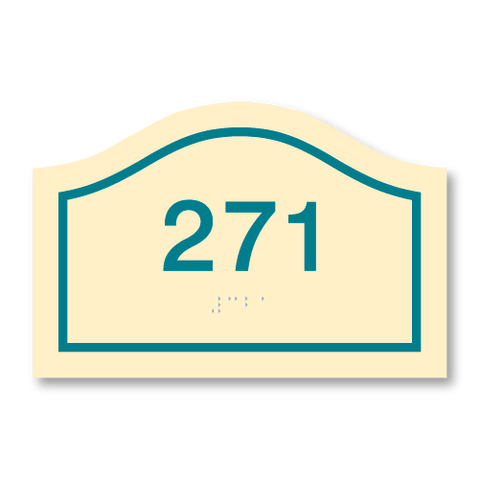 Primary - Curve Room Number  (Antique Ivory & Teal)