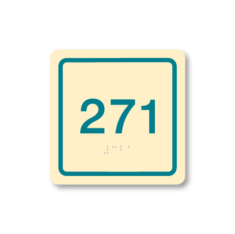 Primary - Square Room Number  (Antique Ivory & Teal)