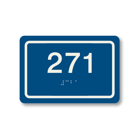Primary - Rectangle Room Number  (Blue & Ash)