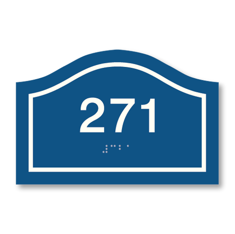 Primary - Curve Room Number  (Blue & White)