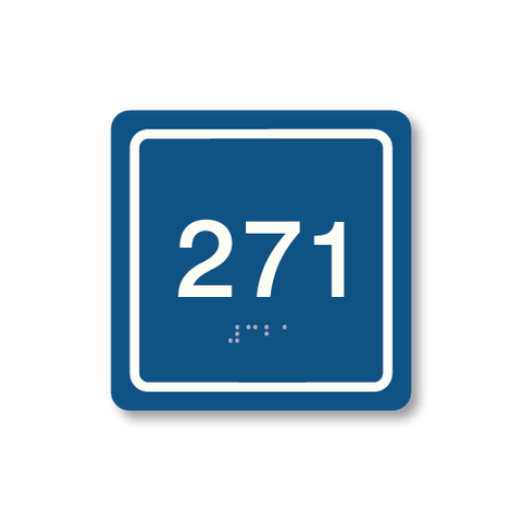 Primary - Square Room Number  (Blue & White)
