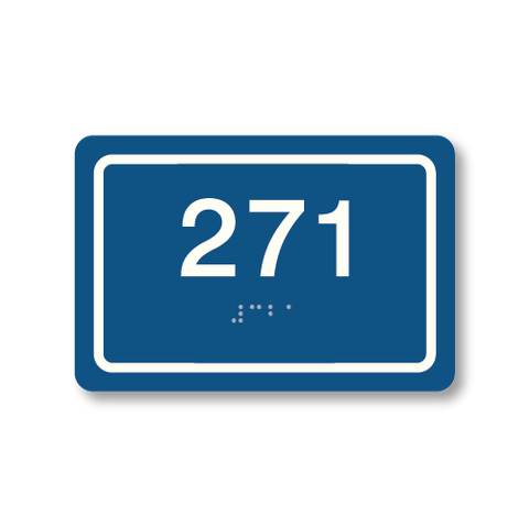 Primary - Rectangle Room Number  (Blue & White)