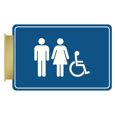 Primary - Flag ID Restroom  (Blue & White)