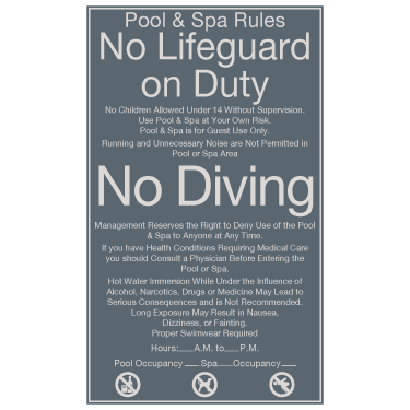 Cambria Suites - Pool/Spa Rules