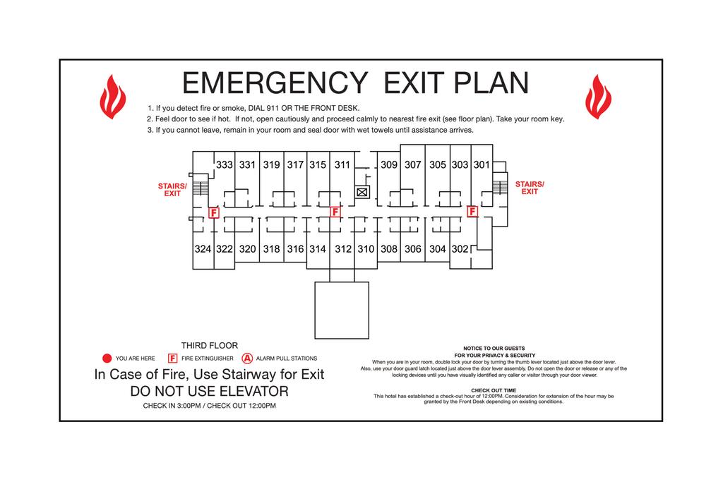 Quality Inn - Emergency Exit Plan-Only available when ordering a full sign package. Layout fees may apply.