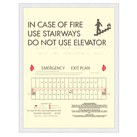 Clarion Elevator Fire Evacuation-Only available when ordering a full sign package. Layout fees may apply.