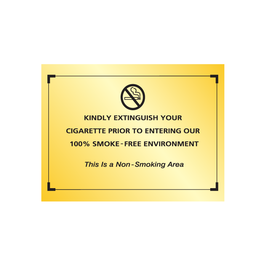 Comfort Brand No Smoking Sign - Gold