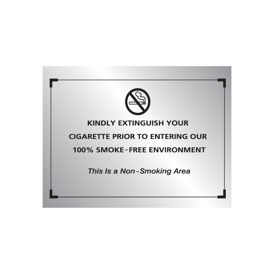 Comfort Brand No Smoking Sign - Silver