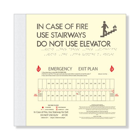 Elevator Fire Evacuation w/Pictogram & Evac Plan-Only available when ordering a full sign package. Layout fees may apply.