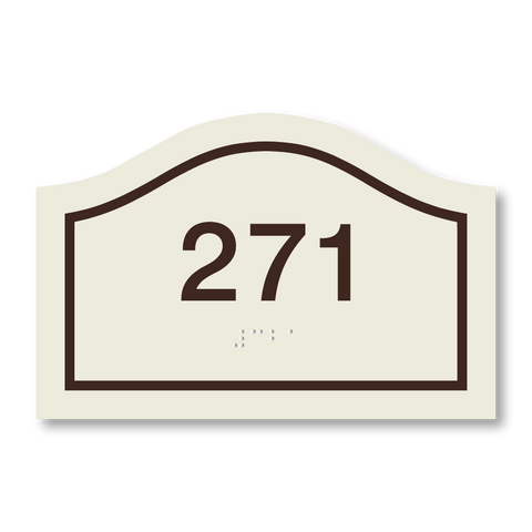 Hospitality Primary - Curve Room Number (Ash/Dark Brown)