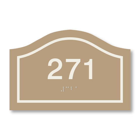 Primary - Curve Room Number (Beige/Ash)