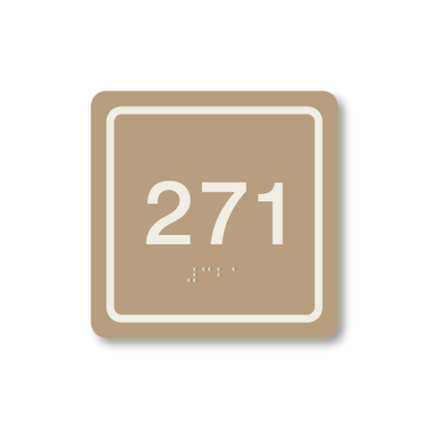 Primary - Square Room Number (Beige/Ash)