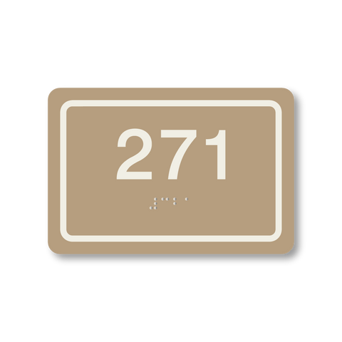 Primary Series - Rectangle Room Number (Beige/Ash)