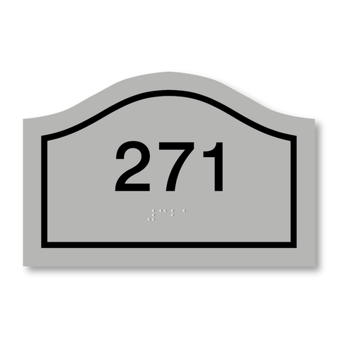 Primary - Curve Room Number (Silver/Black)
