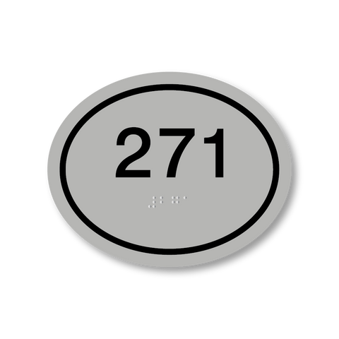 Primary - Oval Room Number (Silver/Black)
