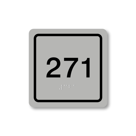 Primary - Square Room Number (Silver/Black)