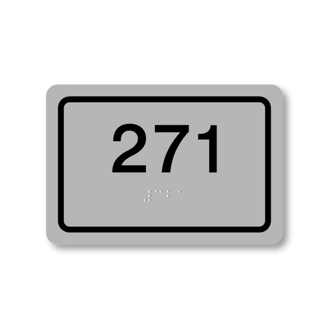 Primary - Rectangle Room Number (Silver/Black)